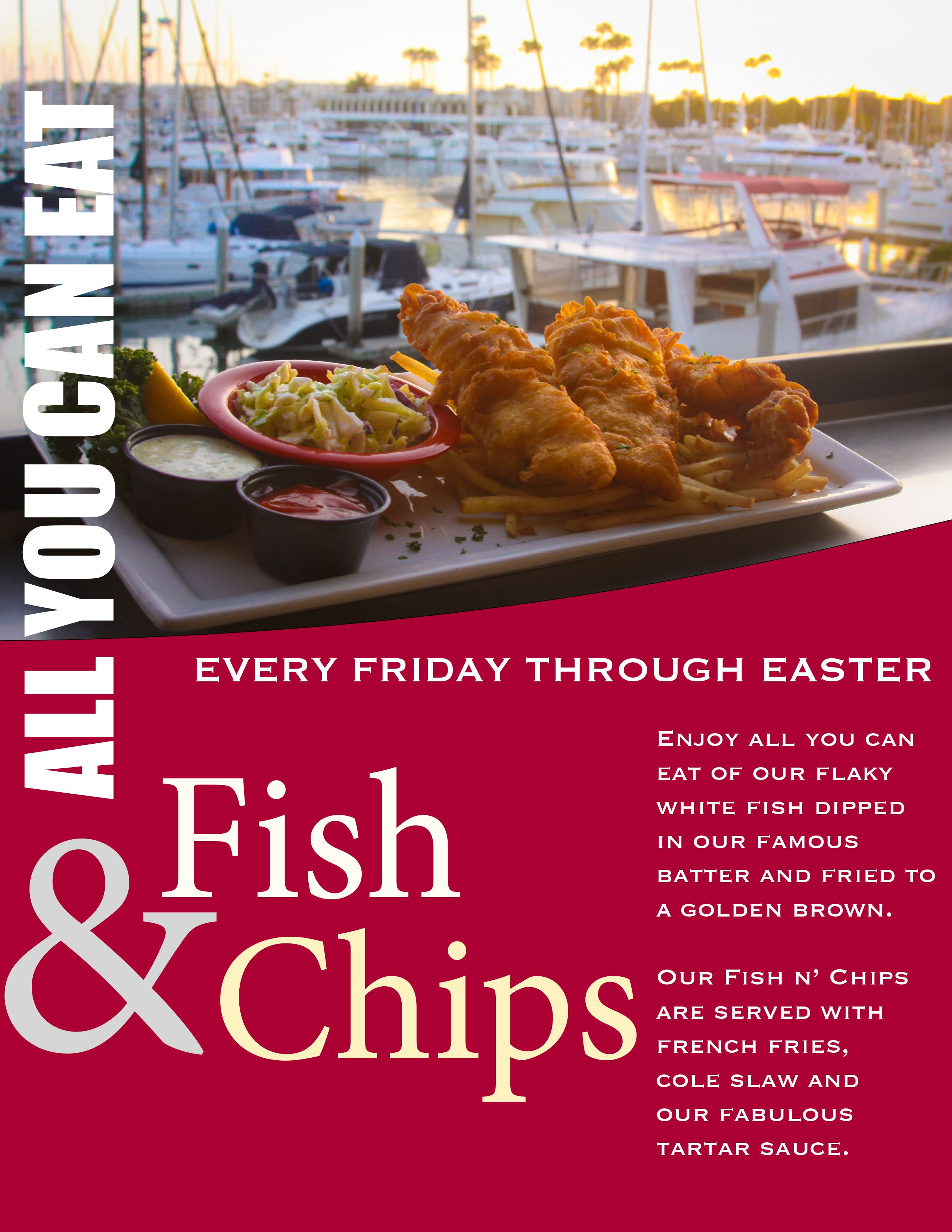 All you can eat fish chip fridays at tony p s dockside for All you can eat fish